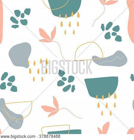 Organic Shapes Seamless Pattern. Unique Hand Drawn Abstract Shapes Texture. Memphis Style Background
