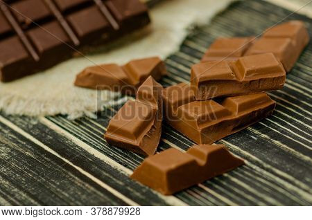 Mix Chocolate Bars Of Different Colors And Types.
