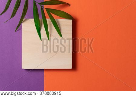 Tropical plant leaf and wooden block on violet and orange paper background. Flat lay, top view, minimal design template with copyspace.