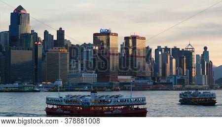 Victoria Harbor, Hong Kong 01 July 2020 : Hong Kong city sunset