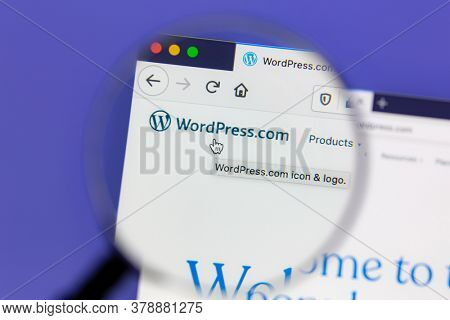 Ostersund, Sweden - July 27, 2020: Wordpress website under a magnifying glass. WordPress is a free and open-source content management system