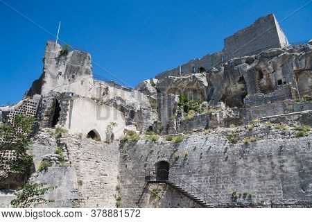 Facade Of The Fortified Medieval Castle In The Historic Town Of Les Baux De Provence In The South Of