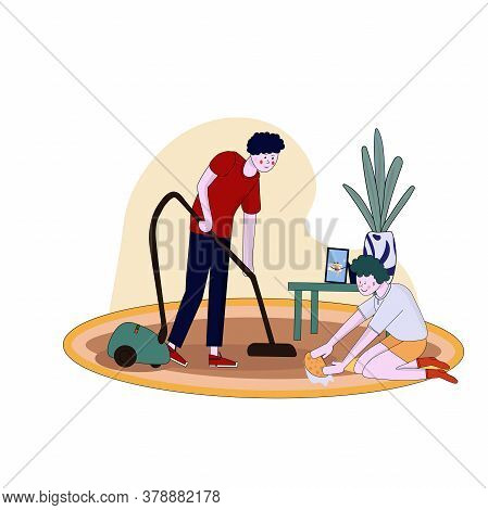 Father And Son Clean Flat Vacuuming With Vacuumer Vector Cartoon Illustration.