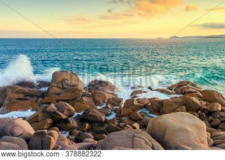 Port Elliot Rugged Coastline At Sunset, Fleurieu Peninsula, South Australia