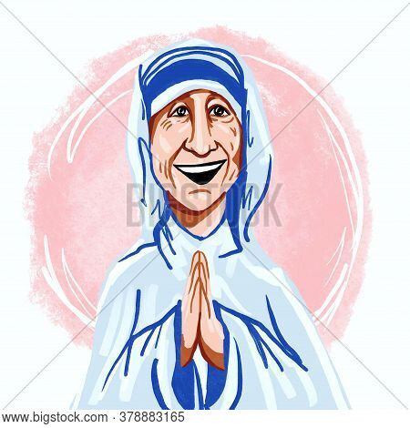 Febraury, 5, 2020 . Kaliningrad, Russia Mother Teresa Of Calcutta, The Missionaries Of Charity, Illu