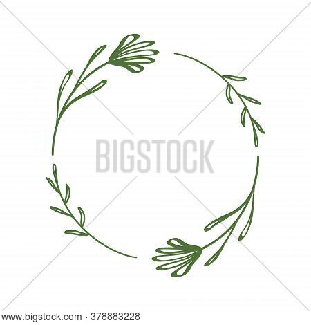 Decorative Wreath Of Linear Flowers In A Circle. Floral Border Of Twigs, Leaves, Abstract Flowers. E