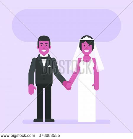 African American Bride And Groom Hold Hands And Smile. Flat People