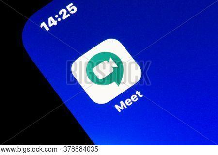 Ostersund, Sweden - July 16, 2020: Google Meet app icon. Google Meet is a video-communication service developed by Google.