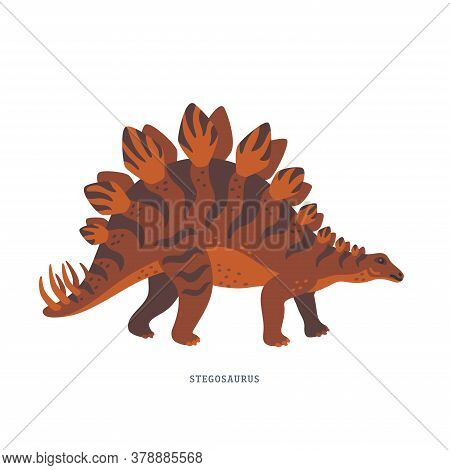 Stegosaurus, Dinosaur Of Late Jurassic Period With Upright Plates And Tail Tipped With Spikes.