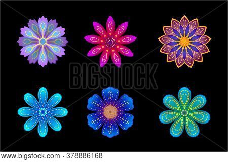 Vector Stylized Floral Set, Colorful Flowers Collection, Flowers For Decorations
