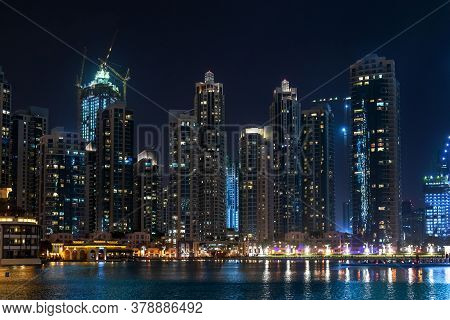 Skyscrapers In The Downtown Dubai At Night, Uae