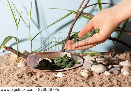 Hand With Spirulina Or Chlorella Tablets And Powder On Nature Background Among Shells, Rocks And San