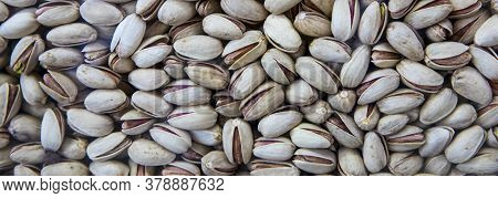Pistachios Texture And Background . Tasty Pistachios As Background,as Pistachios Texture. Flat Lay