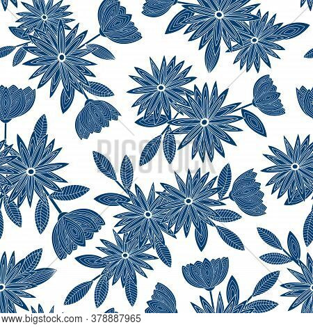 Vector Flowers In Blue Silhouettes Scattered On White Background Seamless Repeat Pattern. Background