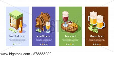 Beer Pub 4 Isometric Banners Set With Oak Barrel Bottles Glasses With Foam On Top Vector Illustratio