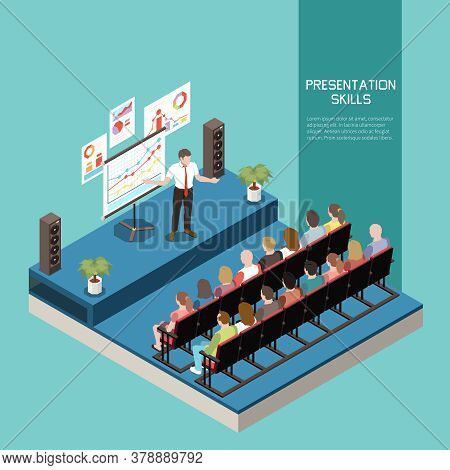 Soft Skills Isometric Colored Concept With Presentation Skills Description And Office Meeting Vector