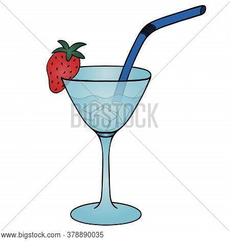 Martini With Ice Cubes. A Glass With An Alcoholic Drink. Color Vector Stock Illustration. Isolated W