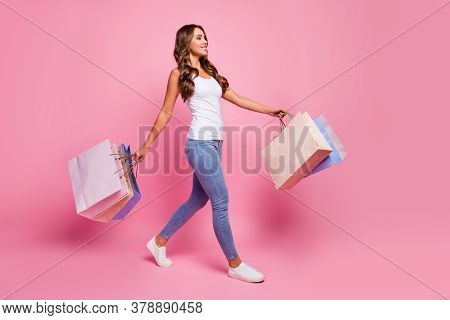 Full Length Profile Photo Of Attractive Lady Carry Many Shopping Packs Addicted Shopper Walking Stor