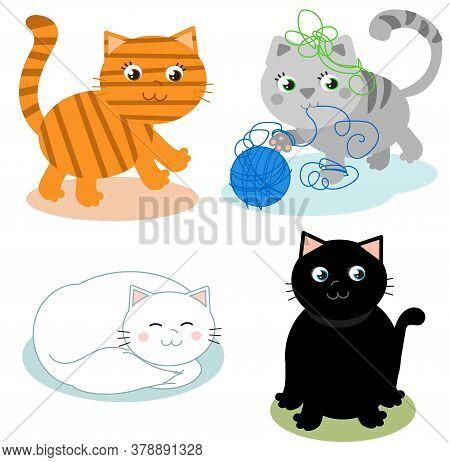 Four Cute Cartoon Kitty Cats Vector Illustrations