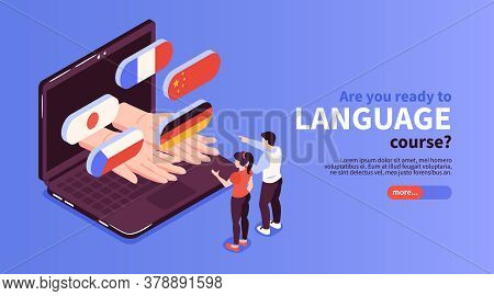 Online Language Courses Website With French German Japanese Flags Popping Out Laptop Screen Isometri