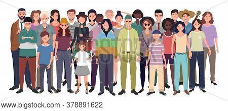 Multinational Group Of People Isolated On White Background. Children, Adults And Teenagers Stand Tog