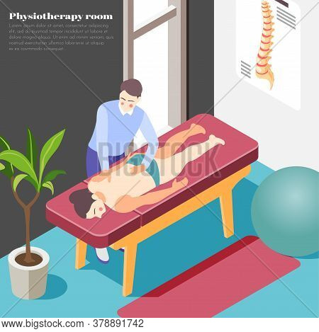 Orthopedics Clinic Background With Massage And Physiotherapy Symbols Isometric Vector Illustration