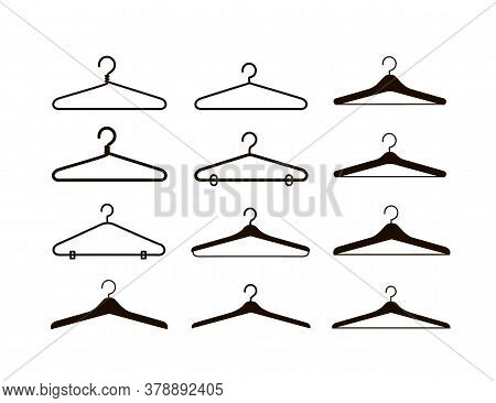 Set Of Different Clothes Hangers Silhouettes.isolated Coat Hanger. Vector