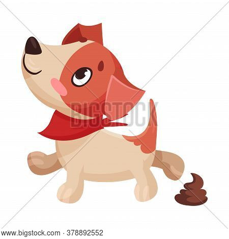 Funny Jack Russell Terrier Character Defecating Vector Illustration