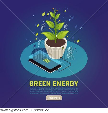 Green Energy Isometric Composition With Smartphone Battery Charging Using Plant Leaves Photosynthesi