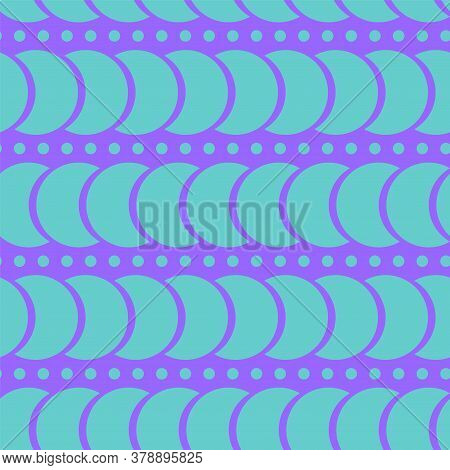 Seamless Blue Background. A Pattern Of Circles And Crescents. The Horizontal Pattern. Delicate Paste