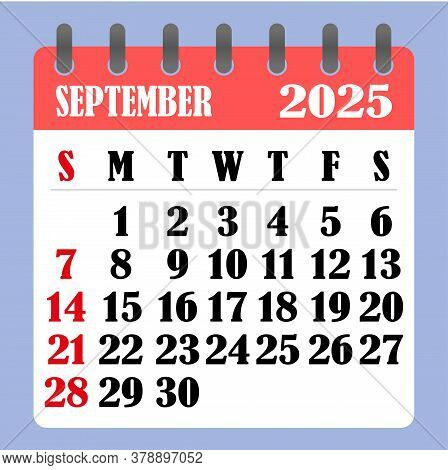Letter Calendar For September 2025. The Week Begins On Sunday. Time, Planning And Schedule Concept.