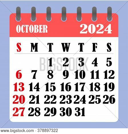 Letter Calendar For October 2024. The Week Begins On Sunday. Time, Planning And Schedule Concept. Fl