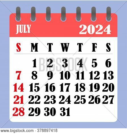 Letter Calendar For July 2024. The Week Begins On Sunday. Time, Planning And Schedule Concept. Flat
