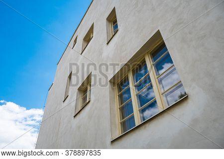 Prague, Czech Republic - July 12 2020: Villa Winternitz Windows And Facade Detail. A Functionalist R