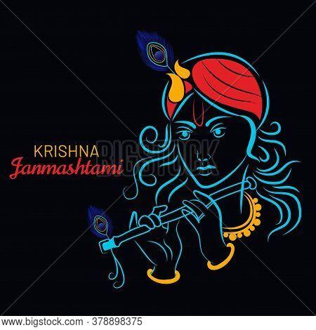 Illustration Of Lord Krishna On Hindu Festival Janmashtami. It Is Birthday Of Lord Krishna. Vector,