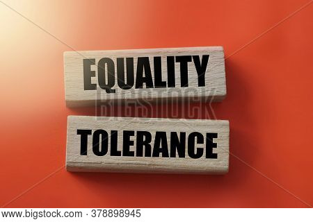 Equality And Tolerance Words On Wooden Blocks On Red