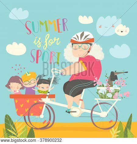 Sporty Grandmother Riding Bicycle With Her Grandchildren