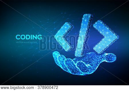 Programming Code Icon. 3d Low Polygonal Abstract Programming Code Symbol In Hand. Coding Or Hacker B