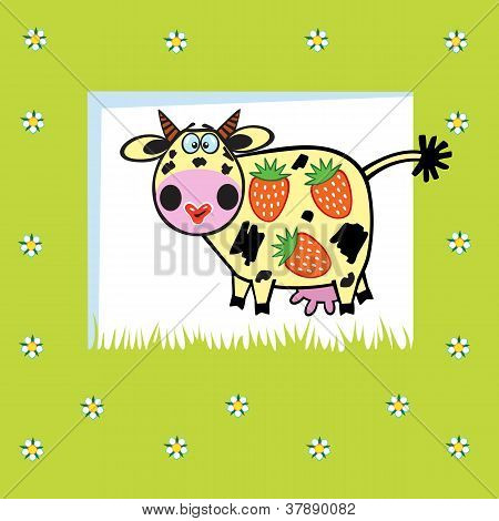 cartoon cow with strawberries,fruity animal,children illustration on green background,vector picture for babies and little kids poster