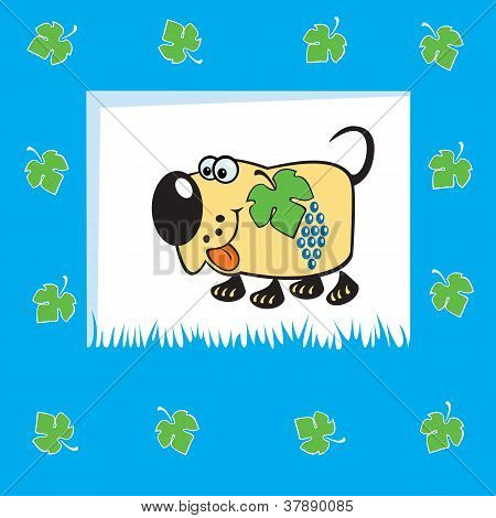 cartoon dog with grapes,fruity animal,children illustration on blue background,vector picture for babies and little kids poster