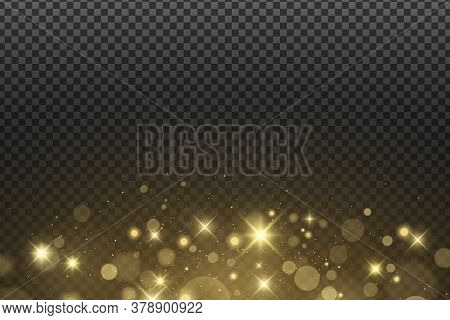 Abstract Golden Lights Bokeh Isolated On A Dark Transparent Background. Shining Stars And Glare. Gol