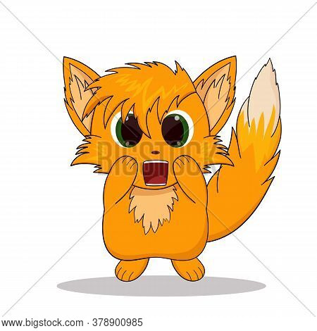 Anime Fox. Vector Illustration Of A Scared Fox Sticker. Emotion Scared Fox.