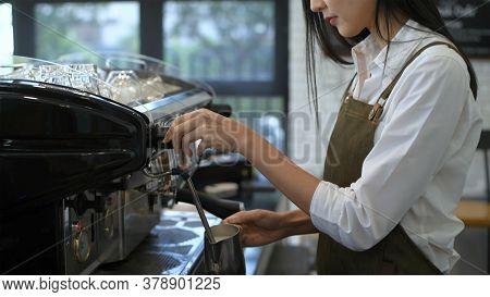 Coffee Shop Concept. Asian Girls Making Coffee Inside The Counter. 4k Resolution.