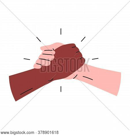 Strong Hanshake Icon. Vector Illustration Of Two Muscular Hands Making A Sport Style Handshake. Blac