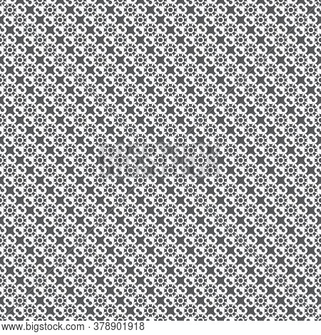 Vector Seamless Pattern. Infinitely Repeating Modern Texture Consisting Of Small Crosses And Dots. A