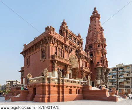 Cairo, Egypt- July 30 2020: Angle View Of Baron Empain Palace, A Historic Mansion Inspired By The Ca