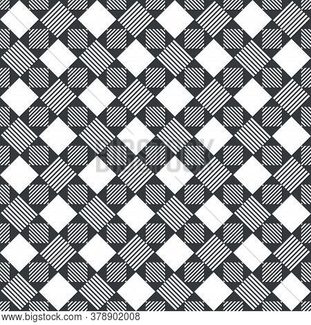 Seamless Pattern. Modern Stylish Texture. Regularly Repeating Rhombuses, Triangles, Strips. Vector E