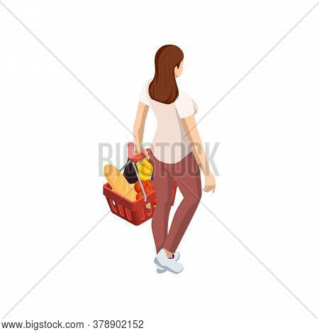 Woman With Grocery Basket Cart From Supermarket On White Isolated Background. Isometric Shopping Mar