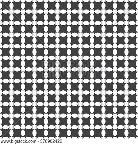 Seamless Pattern. Simple Stylish Texture. Regularly Repeating Geometric Shapes, Ovals, Ellipses, Squ
