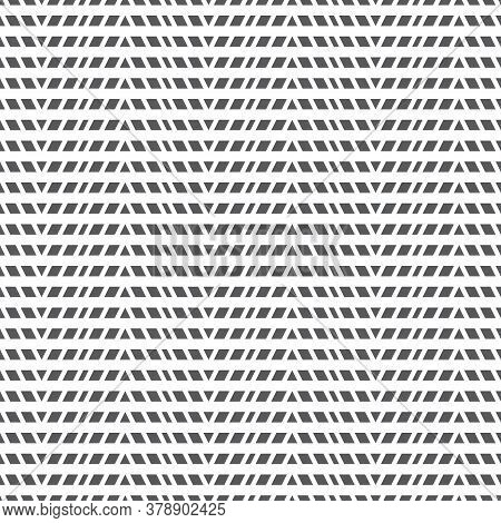 Seamless Pattern. Simple Geometrical Texture. Regularly Repeating Original Strips With Triangles, Rh
